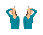 Vector colorful illustration. Neck exercises by girl for relax. Put your finger behind the ear and pull the head up. Creative concept. Blue and grey colors. White background