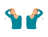 Vector colorful illustration. Neck exercises by girl for relax. Tilt head to the shoulder by hand. Then to other side. Creative concept. Blue and grey colors. White background