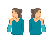 Vector colorful illustration. Neck exercises by girl for relax. Turn head to the shoulder and fix it by hand. Then to other side. Creative concept. Blue and grey colors. White background