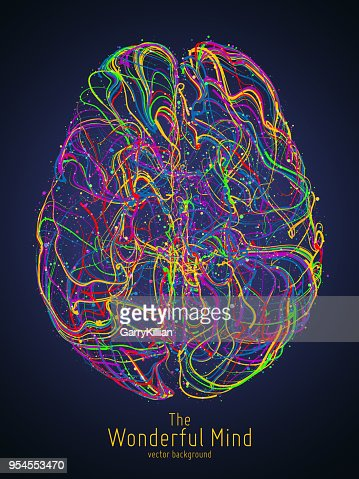 Vector colorful illustration of human brain with synapses. Conceptual image of idea birth, creative imagination or artificial intelligence. Net of lines forms brain structure. Futuristic mind scan. : Arte vetorial
