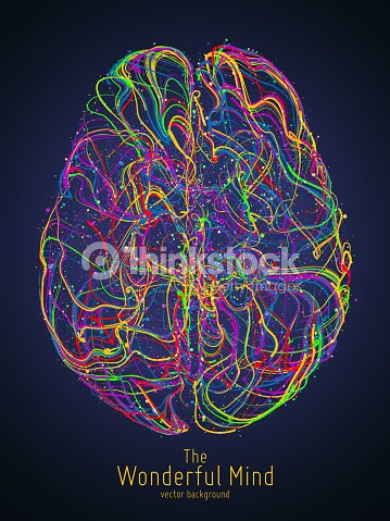 Vector colorful illustration of human brain with synapses. Conceptual image of idea birth, creative imagination or artificial intelligence. Net of lines forms brain structure. Futuristic mind scan. : stock vector