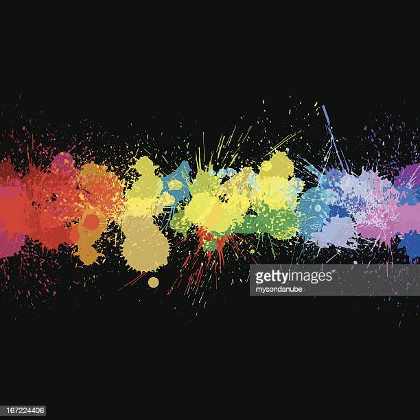 vector colorful ink splashes background