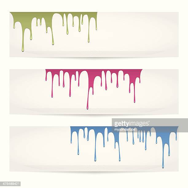 vector colorful paints pouring banners