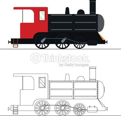 Vector De Para Colorear Un Viejo Locomotora De Vapor Arte vectorial ...