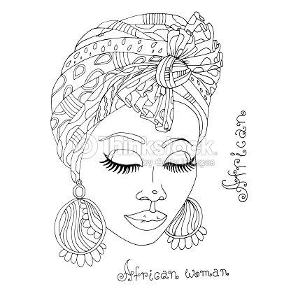 Vecteur colorier portrait dune belle fille africaine - Africaine dessin ...