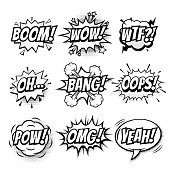 Vector comic speech bubble, sound effects with phrase Boom, Wow, WTF, Oh, Bang, Oops, Pow, OMG, Yeah. Comic cartoon sound doodle sketch bubble speech on transparent background