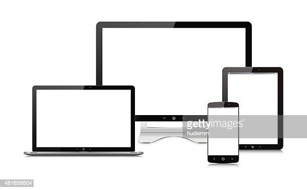 Vector Computer monitor,Digital Tablet, Smart Phone and laptop isolated