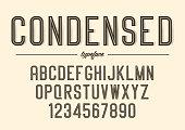 Vector condensed inline font design, alphabet, typeface typography
