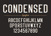 Vector condensed regular font design, alphabet, typeface typography