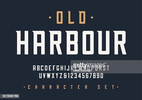 Vector diseño de fuente de pantalla retro condensada, alfabeto, carácter : Arte vectorial