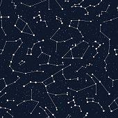 Vector constellations background, sky map, constellations, stars pattern, andromeda,lacerta, cygnus, lyra, hercules, draco, bootes, minor, major, lynx, auriga, camelopardalis, perseus, triangulum, cas