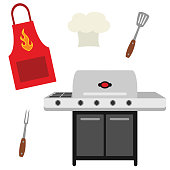 Vector Cookout Grill Utensils Apron Chef Hat Illustrations. Perfect for scrapbooking, kids, stationery, parties, clothing, and home décor projects.
