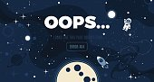 Vector flat cosmos design background with Error 404, page not found text. Cute template with Astronaut, Spaceship, Rocket, Moon, Black Hole, Stars in Outer space