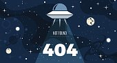 Vector flat cosmos design background with Error 404, page not found text.. Cute template with Alien Spaceship Ray, Moon, Stars in Outer space