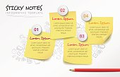 Vector creative infographic template with four sticky notes and hand drawn doodles in the background.
