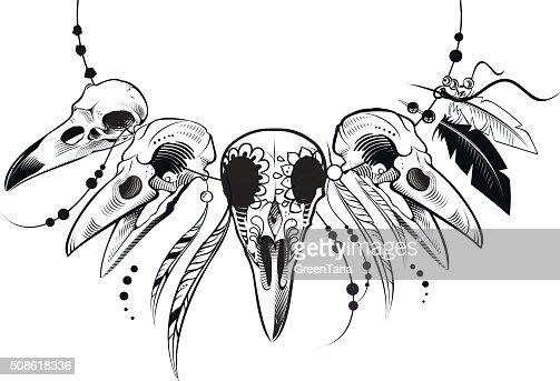 Vector crow skull : Vector Art