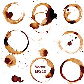 Vector cup of coffee stains on white background