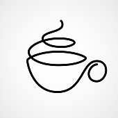 Vector cup of tea or coffee drawn by single continuous line. Eps8. RGB. One global color