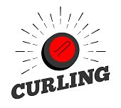 curling stone logo icon hand drawn sun burst