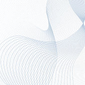 Vector curved crisscross lines on white background. Abstract squiggly waveforms with text place. Contemporary template in light blue and gray tones. Waving line art design for scientific concept. Futu