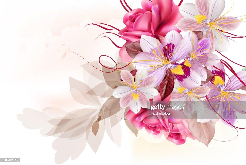 Vector cute flower bouquet for design : Vektorgrafik