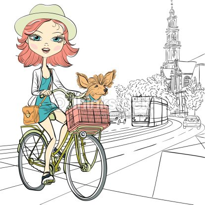 Vector Cute Girl With Dog On The Bike In Amsterdam Stock Vector