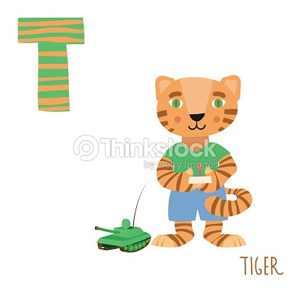Vector Cute Kids Animal Alphabet Letter T For The Tiger Art