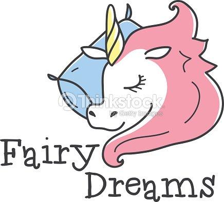 Vektor Niedlichenlogo Comic Schlafen Einhorn Logotype Bettkleidung