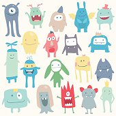 Vector cute monsters set collection isolated on white background