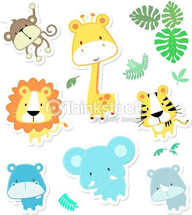 Vector cute safari animals