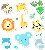 vector cartoon illustration of seven baby animals and jungle leaves, individual objects very easy to edit, ideal for childs decoration