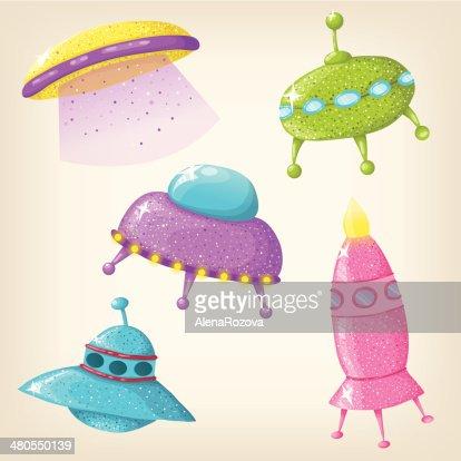 Vector cute UFOs : Vector Art