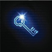 The key and binary code password. Vector blue data security background.