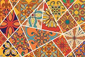 Vector decorative background. Mosaic patchwork pattern for design and fashion. Portuguese tiles, Talavera, Moroccan ornaments