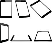 vector design, mock up black tablet isolated on white