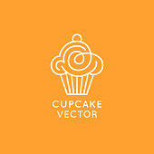 Vector  design template and insignia in flat linear style - sweet cupcake - emblem for confectionery store, bakery and cafe - baking tasty cakes business