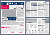 Vector design template of newspaper. Newspaper page layout, journal modular publication illustration