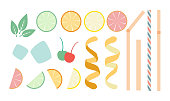 Vector designer kit for drinks in flat style - sliced citrus fruits, various straws, mint leaves, ice and other decorations, top view isolated on white