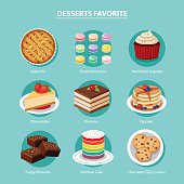 vector desserts favorite set flat design