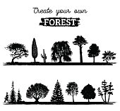 Vector different trees silhouettes. Create your own forest. Black woods icons set. Grove constructor