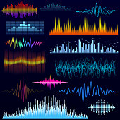 Vector digital music equalizer audio waves design template audio signal visualization illustration. Multitrack editing system soundtrack line bar spectrum electronic.