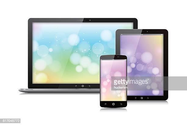 Vettoriale Digital Tablet, portatile e smart phone isolato su bianco