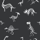 Vector dinosaur skeleton pattern. Dino seamless bone wrap background