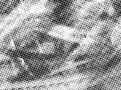Vector dirty grain halftone background with rubber stamp dots effect. Black dusty grain background.