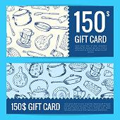 Vector discount voucher or gift card for hand drawn kitchen utensils illustration