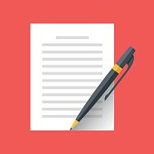 Vector document and pen icon. Singing document, filling form, business contract, application, claim concepts. Modern flat design graphic elements. Vector illustration