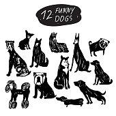 Vector dog icon set: terrier, shepherd, labrador, bulldog, pug, husky, poodle, doberman, dachshund. Black and white isolated icons for polygraphy, web design, logo, app, UI.