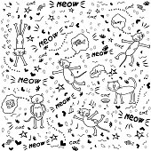 Doodle cat background, print design with hand drawn cats, hearts, stars, notes, fish, cheese and other elements.