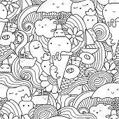Summer pattern for coloring book or design print.