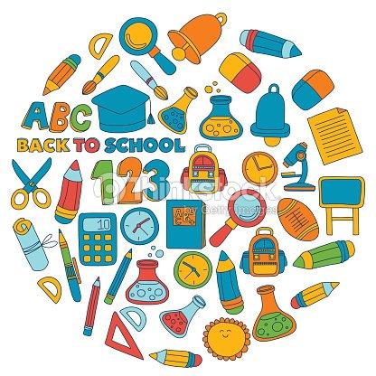 Vector Doodle Set Of Education Symbols Back To School Vector Art